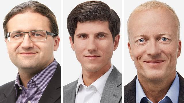 Einer von ihnen soll's richten: Die GLP-Kantonsräte Jörg Mäder, Cyrill von Planta und Christoph Ziegler (v.l.n.r.)