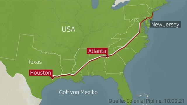 Karte der USA mit der Pipeline.