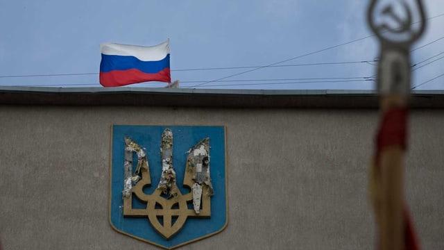 Russland-Flagge in der Ostukraine
