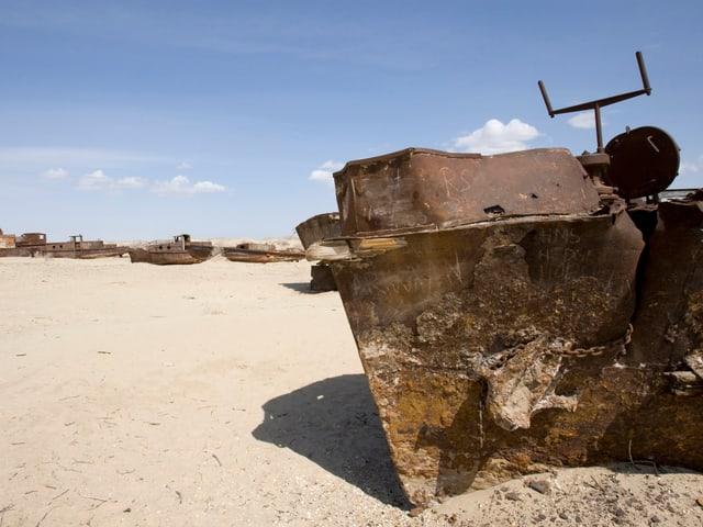 Eine Aufnahme von 2010 zeigt eine Reihe an abgewrackten Schiffsruinen.
