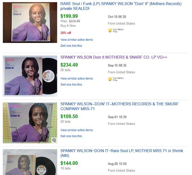 Ebay-Auktion von Spanky Wilson Schallplatten.