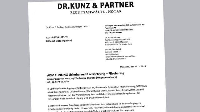 Brief von Anwalt Dr. Kunz und Partner.