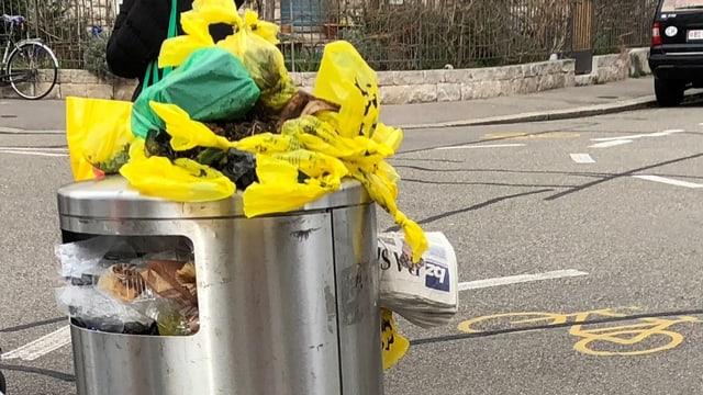 Blick auf einen öffentlichen Abfallkübel der mit Robidog-Beutel überquillt