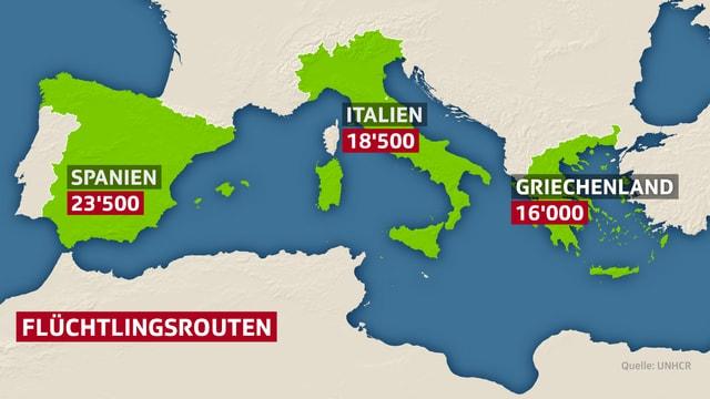 Karte Mittelmeer.