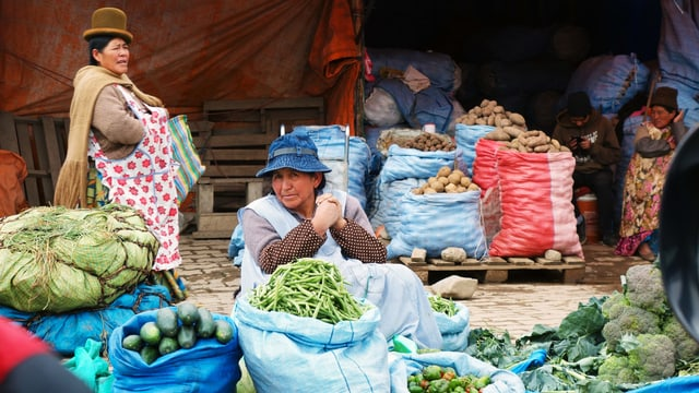 Eine Marktfrau in boliviarischer Kleidung sitzt mit Handelsware am Strassenrand.