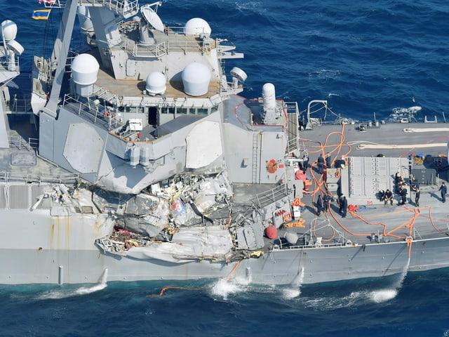 Die USS Fitzgerald wurde an der Seite beschädigt.