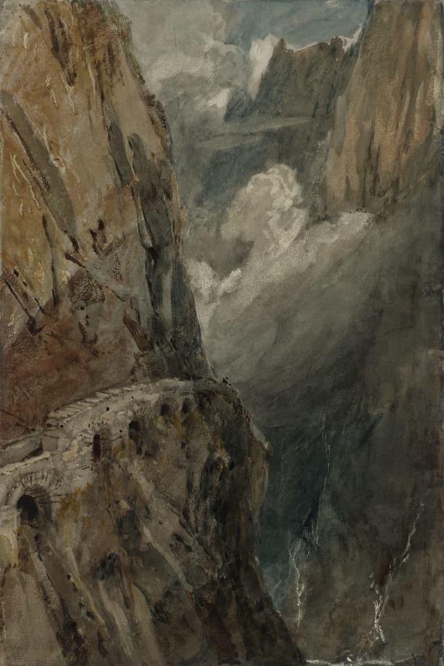 Ein Aquarell von William Turner: dunkles Gebirge.