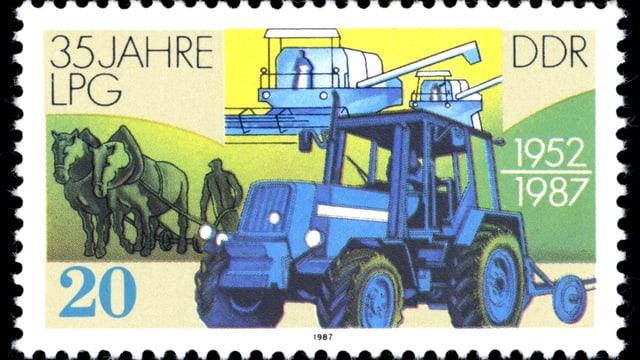 Ein Traktor ist neben anderen landwirtschaftlichen Symbolen auf einer Briefmarke abgebildet.
