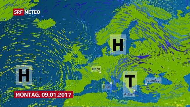 Die Europakarte zeigt ein Hochdruckgebiet über dem Atlantik und ein Tiefdruckgebiet über der Adria.