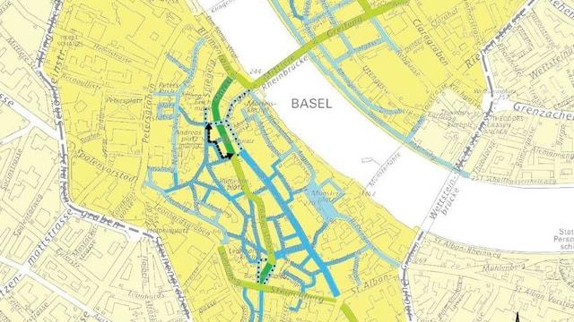 Verkehrsplan der Basler Innenstadt