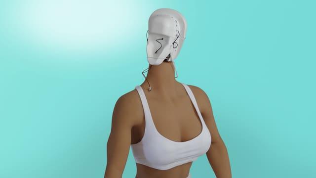 Eine Silikonpuppe vor türkisem Hintergrund. Das Gesicht der Puppe ist noch nicht montiert.