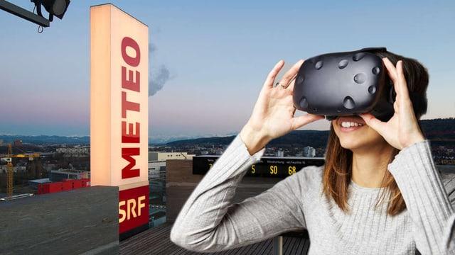 Frau mit VR-Brille auf dem Meteo-Dach