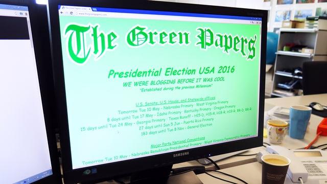 Computerbildschirm in einem Büro, auf dem Bildschirm eine grüne Website mit dem Titel «The Green Papers»