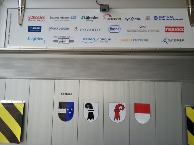 Wappen der Kantone und Logos der Sponsoren.