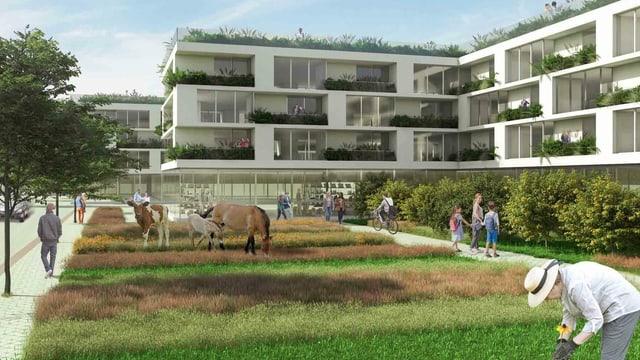 Rendering einer Wohnanlage. Davor ein Garten mit Menschen, Kühen und Pferden.