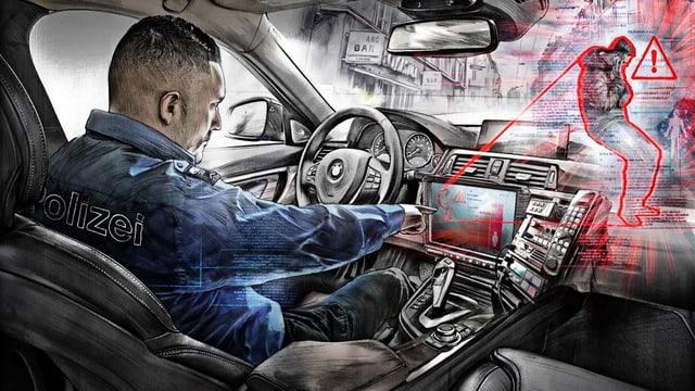 Eine Illustration, die einen Polizisten im Auto zeigt, der auf seinem Bordcomputer ein Risikoprofil eines Gefährders betrachtet.