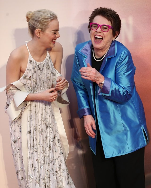 Hollywood-Darling Emma Stone (links) und Tennis-Ikone Billie Jean King (rechts) auf der Filmpremiere.
