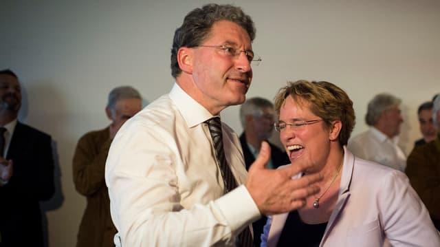 Heinz Brand e Magdalena Martullo Blocher.