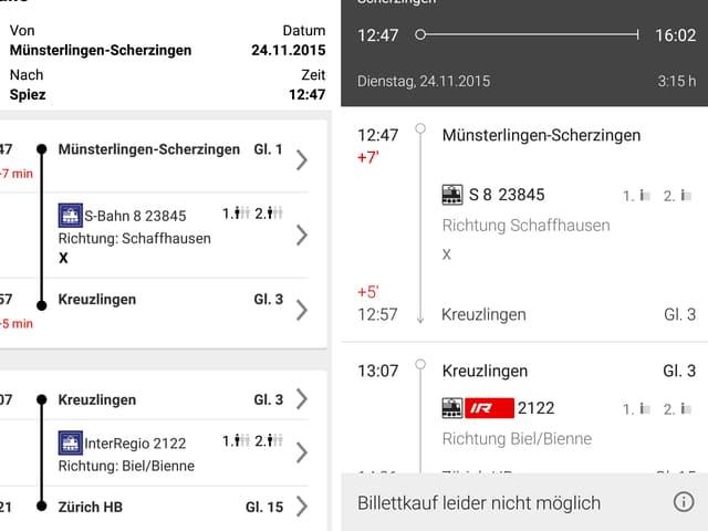Screenshot der neuen und alten SBB-App: Abfrage des Fahrplans.