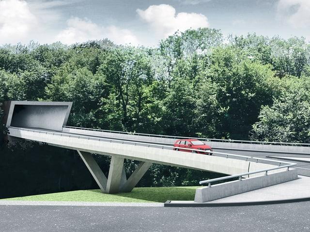 Tunneleinfahrt und Brücke.