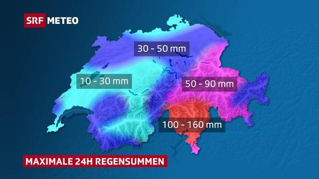 Eingefärbte Schweizerkarte mit Angabe zu Niederschlagsmengen