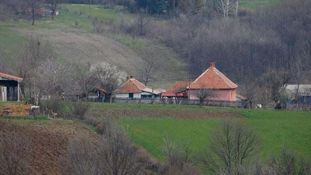 Blick auf ein kleines Dorf.