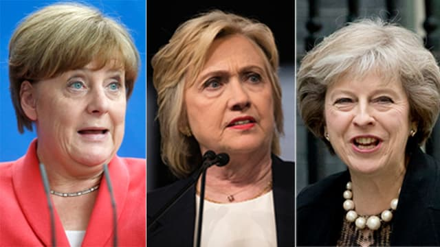 Angela Merkel, Hillary Clinton, Theresa May.