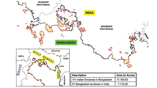 Kartenausschnitt aus dem amtlichen Dokument mit dem Grenzverlauf und den Enklaven.