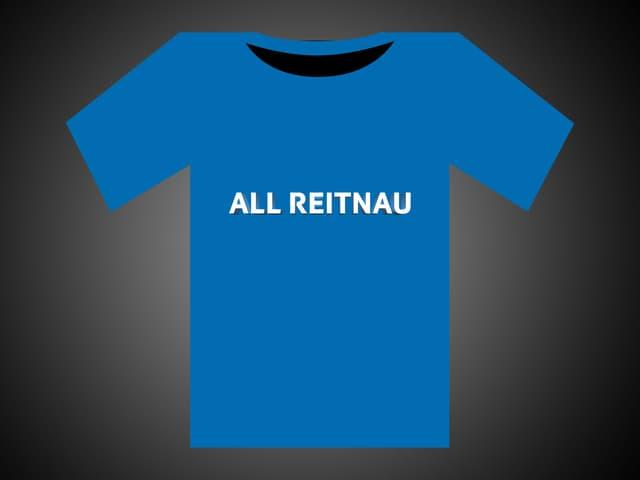 Weisse Schrift auf blauem T-Shirt: All Reitnau.