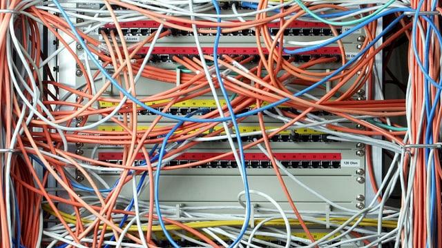 Kabelsalat bei Computer.