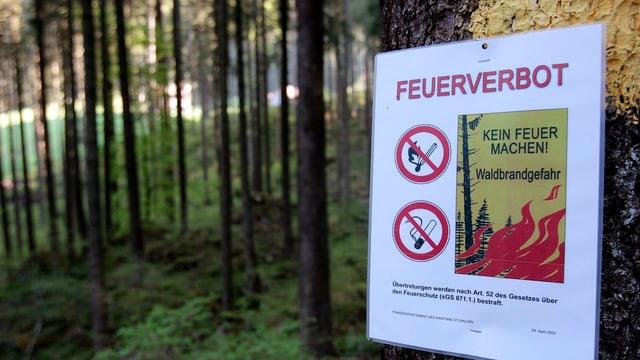 Feuerverbotsschild in einem Wald