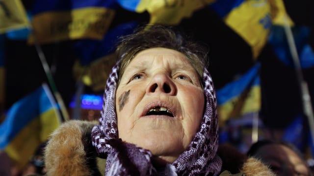 Eine Frau am Protestieren.