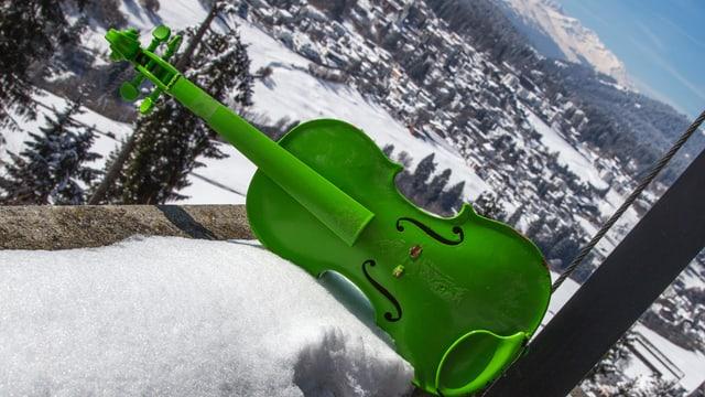 Ina violina verda en la naiv.