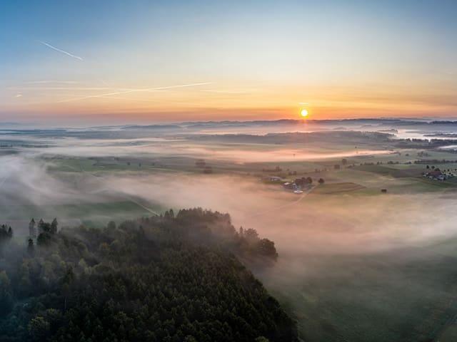 Nebelschwaden beim Sonnenaufgang