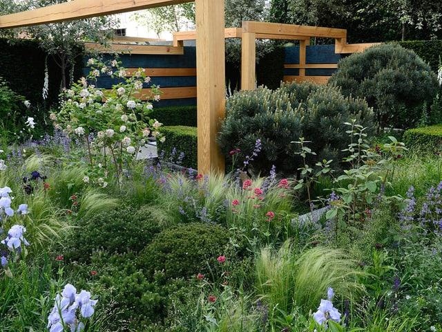 Der Show-Garten mit Blumen, Sträuchern und einer Holzpergola.