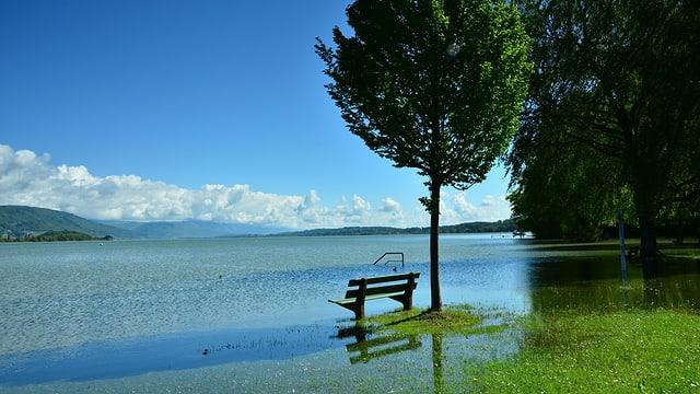 Überschwemmte Uferregion am Bielersee