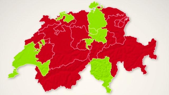 Schweizer Karte mit rot und grün eingefärbten Kantonen.