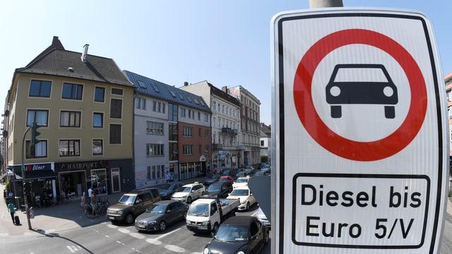 Verbotstafel für Dieselfahrzeuge