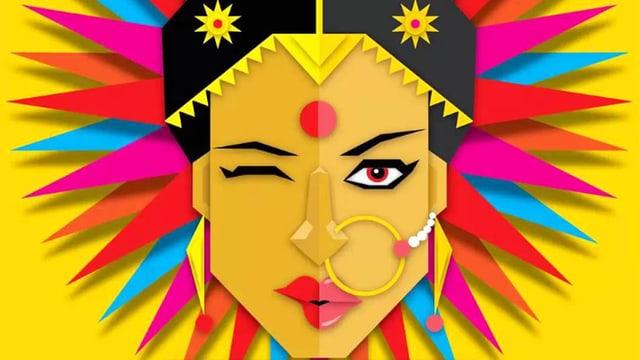Eine Zeichnung einer indischen Frau. Sie trägt einen Nasenring und eine Art farbigen Strahlenhut.