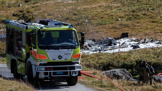 Feuerwehrauto an der Unglücksstelle