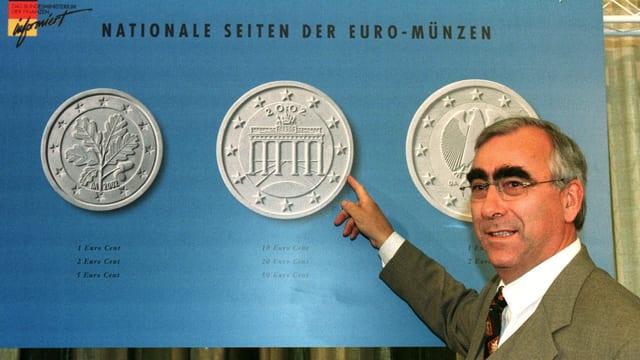 Waigel vor Euro-Münzen