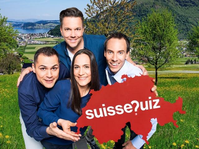 Davide Gagliardi (Rete Uno), Sven Epiney (SRF 1), Ladina Scheena (RTR) e Stéphane Gabioud (RTS-la première)