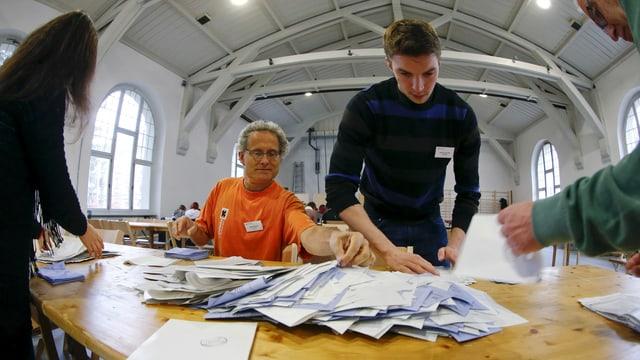 Die Stimmzetter werden ausgezählt.