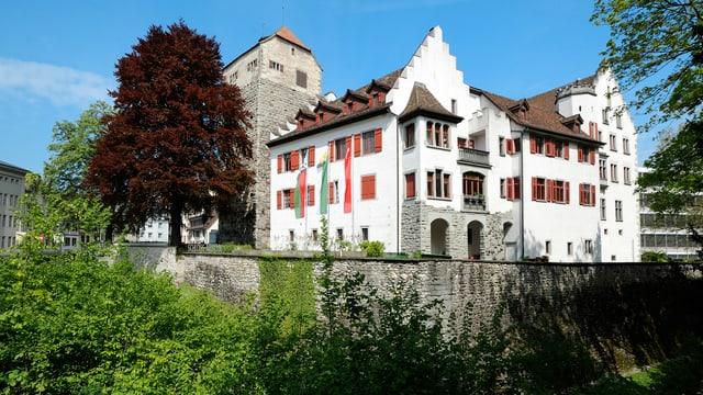 Eine Aussenansicht des Schloss Arbon. Im Vordergrund ist die Mauer zu sehen.