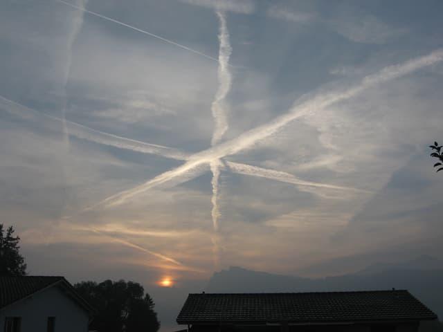 Cirren und Kondesstreifen am Himmel, im Hindergund geht rötlich gefärbt die Sonne auf.