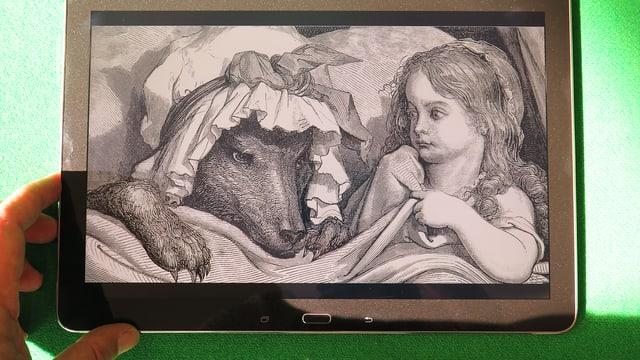 Rotkäppchen und der Wolf, Zeichnung, auf Tablett