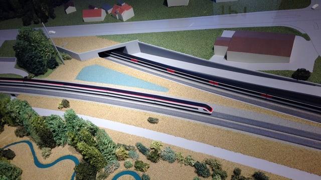 Ein Modell des geplanten Eppenbergtunnels.