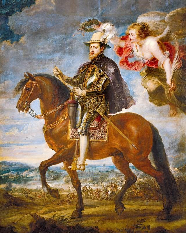 Philip II auf einem Pferd.