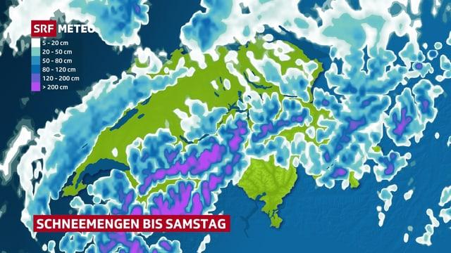 Die Karte zeigt die potenzielle Neuschneemenge der kommenden Tage. Am meisten Schnee fällt in den westlichen Alpen und im Wallis.