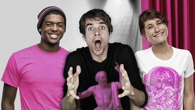 Drei junge Menschen mit pinkfarbenen Shirts, auf einem ist Platon